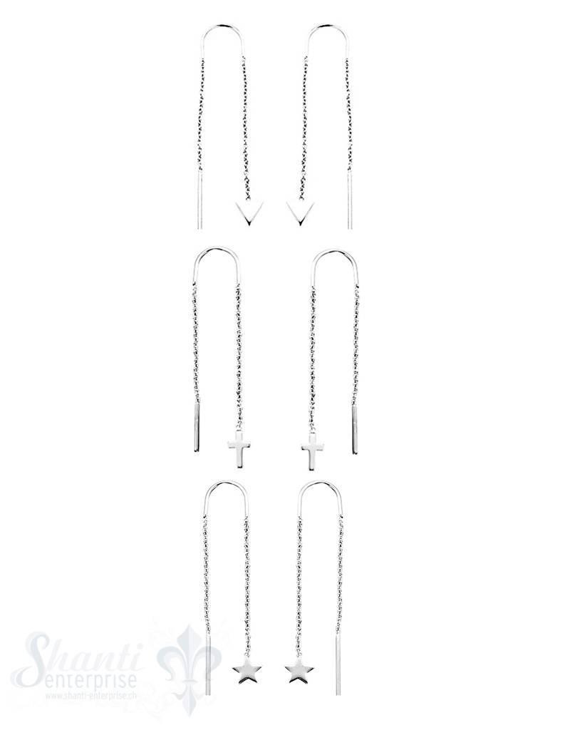 Ohrhänger:zum Einhängen,Si-Ketteli an ei nem Ende,fein, L: 53 mm