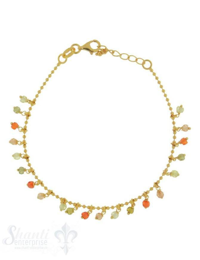 Armkette Si-Kügeli mit vielen Anh:olive-orange Zirkonia fein Grössen verstellbar 17-19 cm