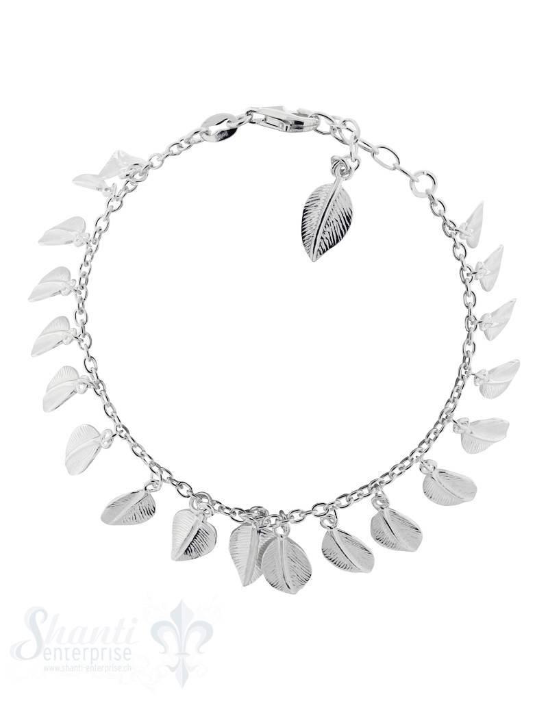 Armkette: Anker, Silber, mit 20 Blättern Grössen verstellbar 16.5-19.5 cm
