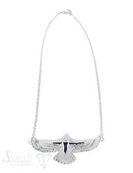 Silber Ankerkette fein mit fliegendem Adler: weiss Adler 30x50 mmGrössen verstellbar 43-47 cm
