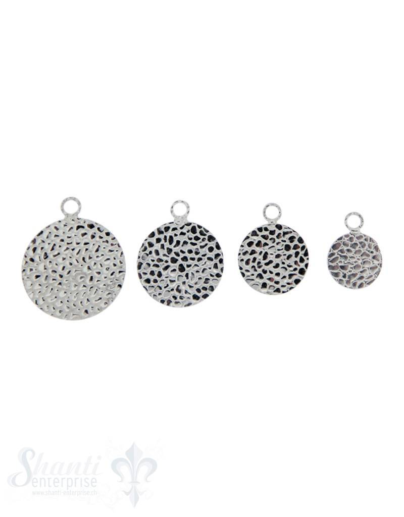 Silberanhänger Plaquetten rund Echsenprint doppelseitig mit fixer Öse