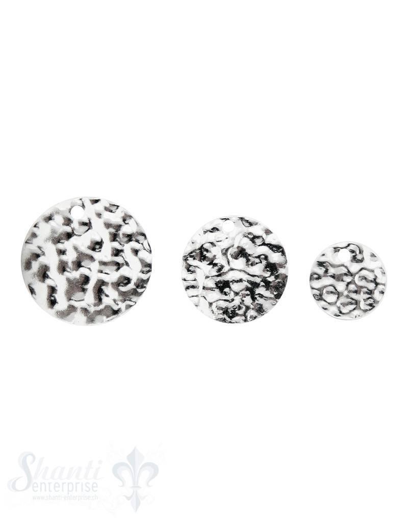 Silberanhänger Plaquetten rund gehämmert
