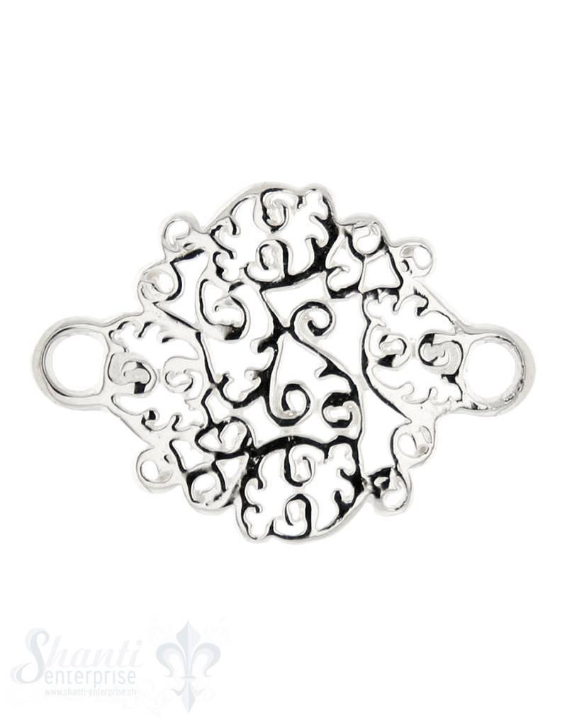Silberteil mit Doppelösen: Amulett 27x20 mm Dicke: 1.3