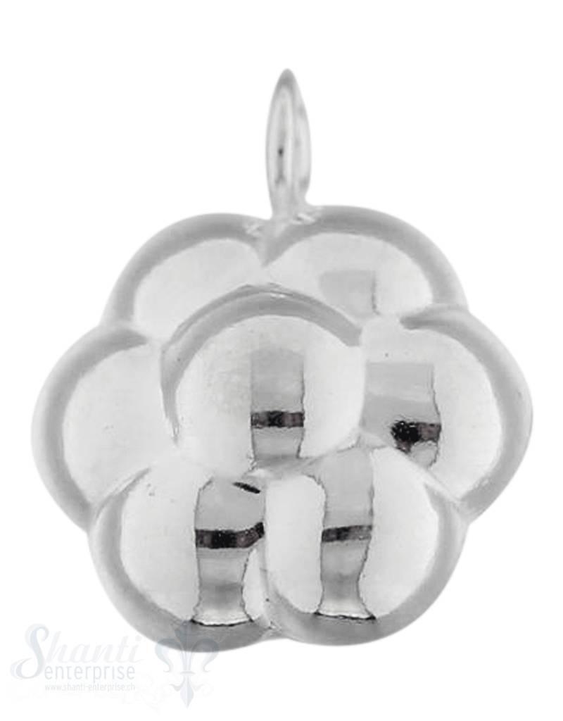 Si-Anhänger: Blume bauchig 6 blättrig bauchig mit Öse leicht D: 15mm Dicke: 10mm