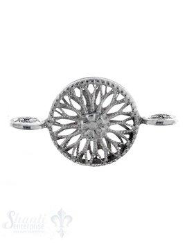 Silberteil mit Doppelösen: Amulett 20x10mm durchbrochen