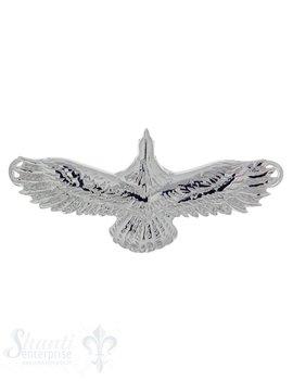Silbertier: fliegender Adler poliert mit 2 Ösen, 15x35 mm