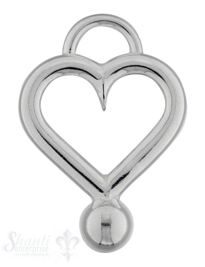 Si-Anhänger: Herzrahmen poliert mit Kugel 35x25 mm, Dicke: 4 mm leicht