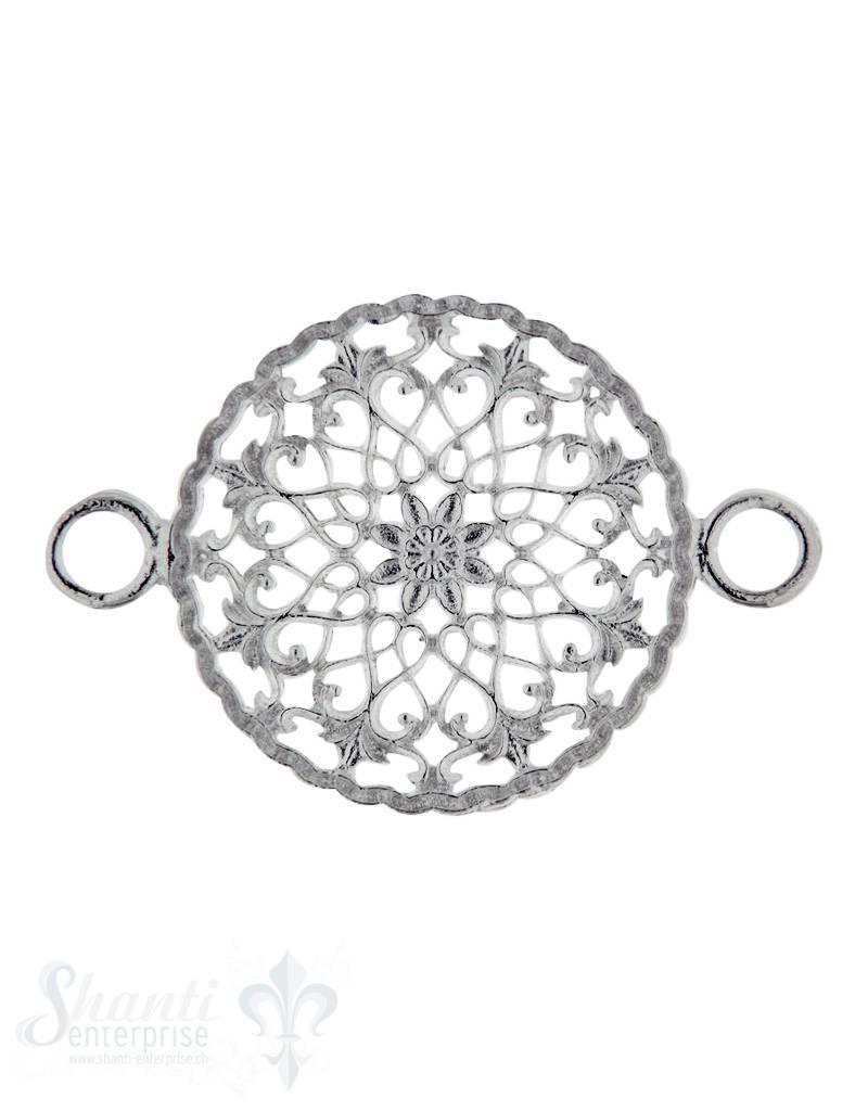 Silberteil mit Doppelösen:  Amulett mit Blume 33x22 mm Dicke: 1.5mm