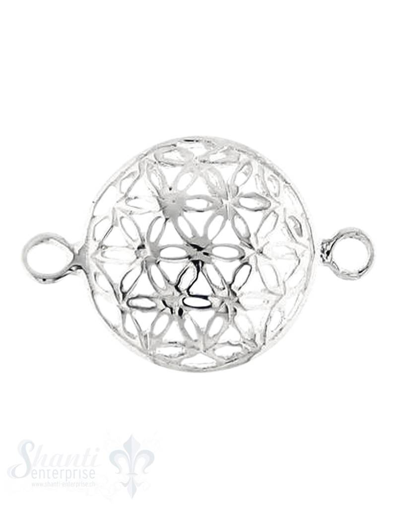 Silberteil mit Doppelösen: Blume des Lebens gewölb 16x11 mm 3Stk. / J