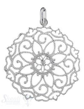 Si-Anhänger: Blumenornament gepunktet doppelseitig mit Öse  40 mm