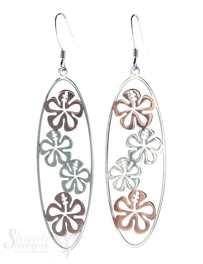 Ohrhänger Silber teils rosé vergoldet Oval durchbrochen mit Blüten 18x50 mm mit Bügel