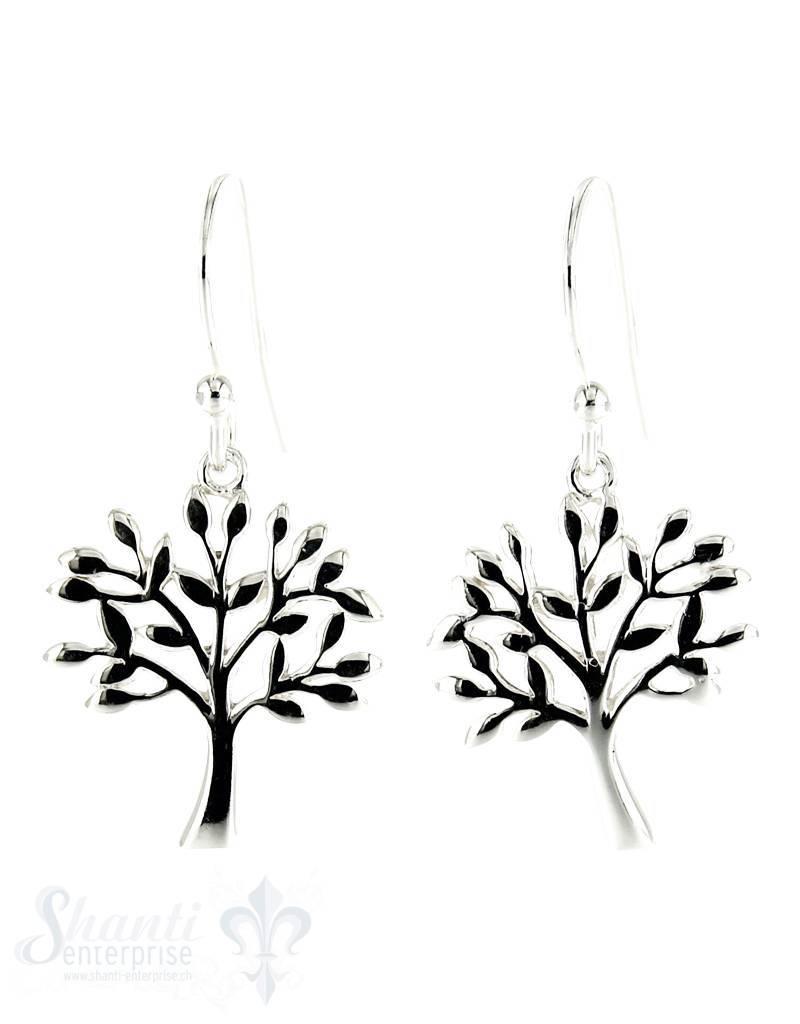 Ohrhänger Silber Lebensbaum durchbrochen poliert 15 mm mit Bügel