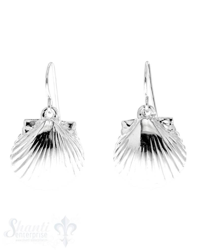 Ohrhänger Silber  Muschel 18x16 mm mit Bügel