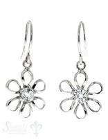 Ohrhänger Silber rhodoniert Blume fein offen mit Zirkonia weiss 11 mm mit Bügel