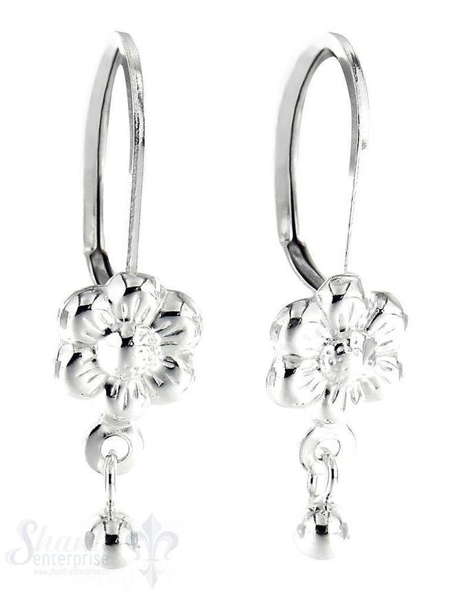 Ohrhänger Silber Blume mit Kugel-Anhängerli 7,5 mm Bügelbrisur fix