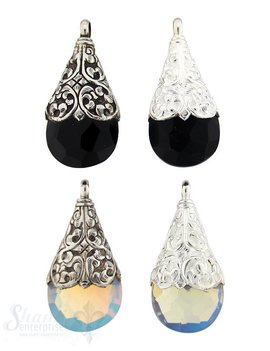 Silber-Anhänger:Tropfen mit Opalinaglas, Blumen- rankenfassung, 56x28 mm
