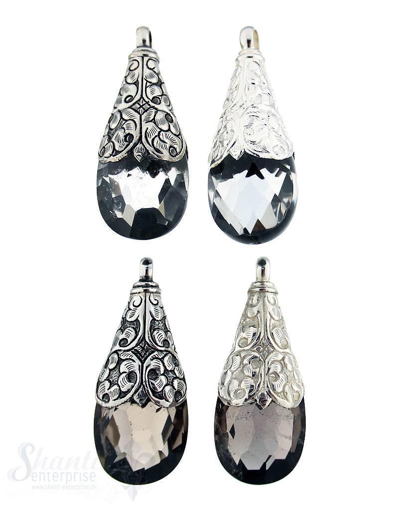 Silber-Anhänger:Tropfen gross Fassung Blumenranken, 65x25 mm