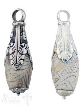 Silber-Anhänger:Tropfen rund, Horn, 3 Farnblätter , Blumenabschluss unten