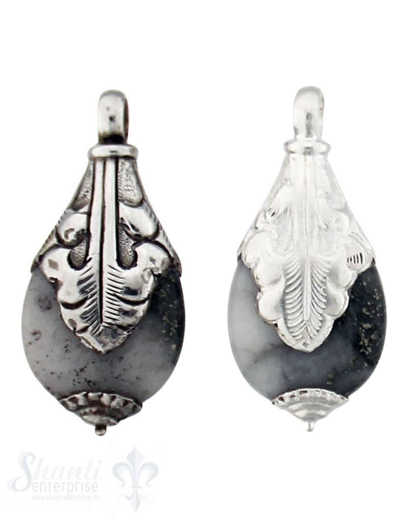 Silber-Anhänger:Tropfen klein, Blatt in Spitz, Kappe unten 41x20 mm