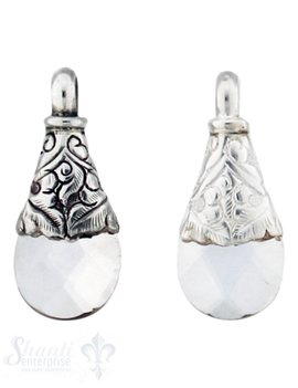 Silber-Anhänger:Tropfen flach mini, Bergkristall Kappe Blattranken unten gerade, fac.