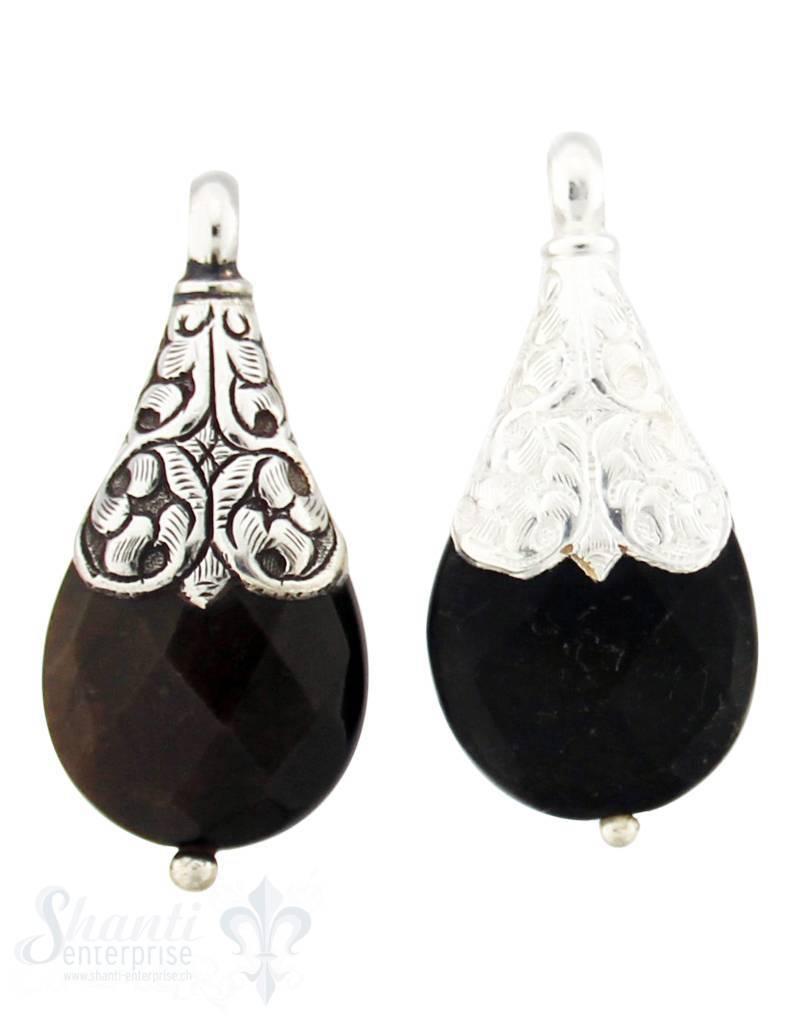 Silber-Anhänger:Tropfen flach klein, braun fac. Kappe Blumenranken und Rhombus in Mitte