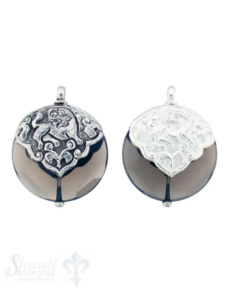 Silber-Anhänger:rund, flach, Rauchquarz, fac. Kappe Drache dreieckig