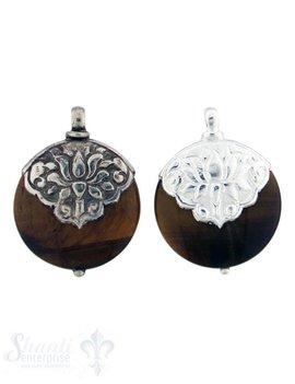Silber-Anhänger:rund, flach, mittel, Tigerauge Kappe Lotus, dreieckig