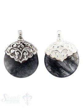 Silber-Anhänger:rund, flach, klein, Grauquarz Kappe Blumenranken