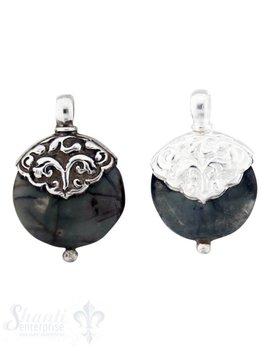 Silber-Anhänger:rund, flach, klein, Picturejaspis Kappe Blumenranken