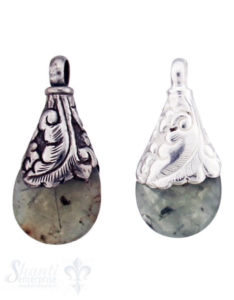 Silber-Anhänger:Tropfen klein, flach, Serpentin m. Hornblende, Farnblatt gebogen, 40x18 mm