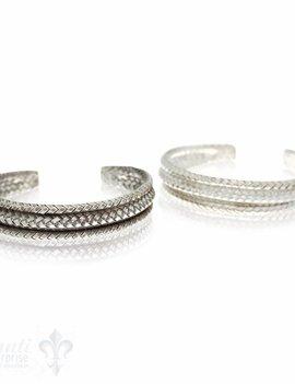 Silberarmspange: Silbergeflecht seitl. eingewölbt, 16 mm