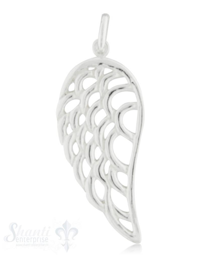 Silberanhänger Flügeldurchbrochen poliert mit Öse 35x15 mm