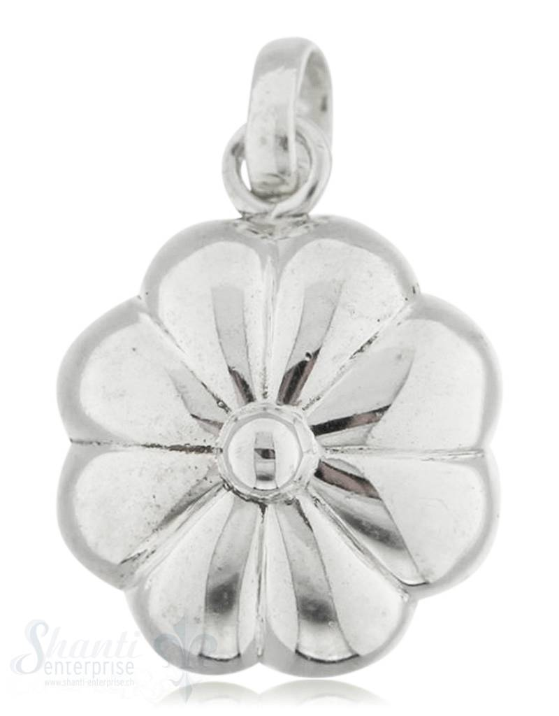 Silberanhänger Blume leicht bauchig 8 blättrig mit Öse