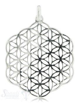 Silberanhänger Amulett Blume des Lebens durch- brochen fein mit Öse 38 mm