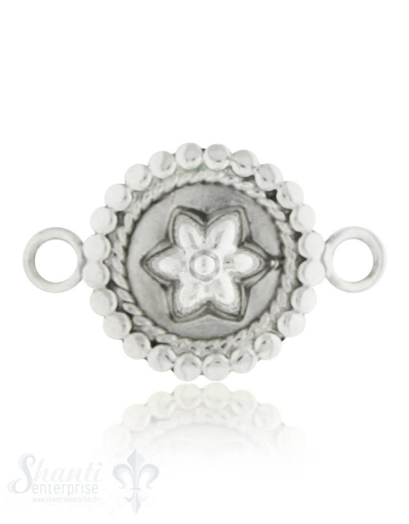 Silberteil mit Doppelösen: Blume Rand gezopft, gew lbt 27x18 mm Dicke: 2.00 mm