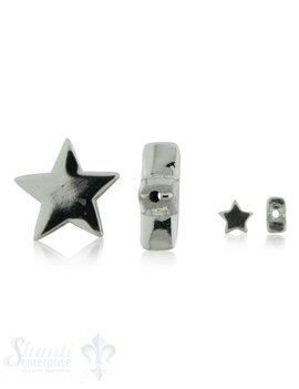 Silberzwischenteil Stern poliert Loch 1.5 mm Dicke: 5.5 mm