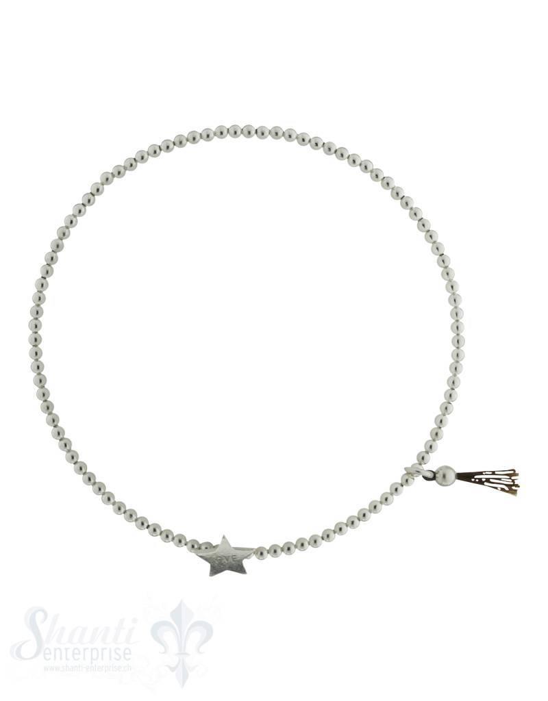 Silberarmkette: Kugeli 2 mm mit Stern und feinem Zöttel, 18 cm und Gummizug