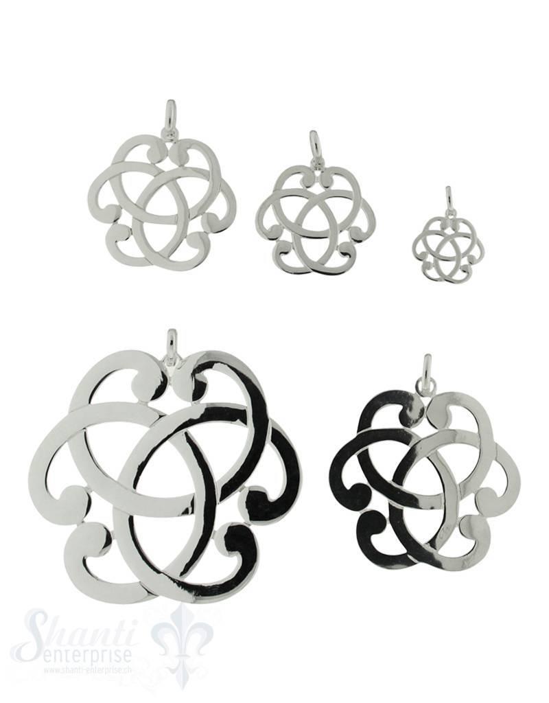 Silberanhänger Amulett rund Knoten durchbrochen