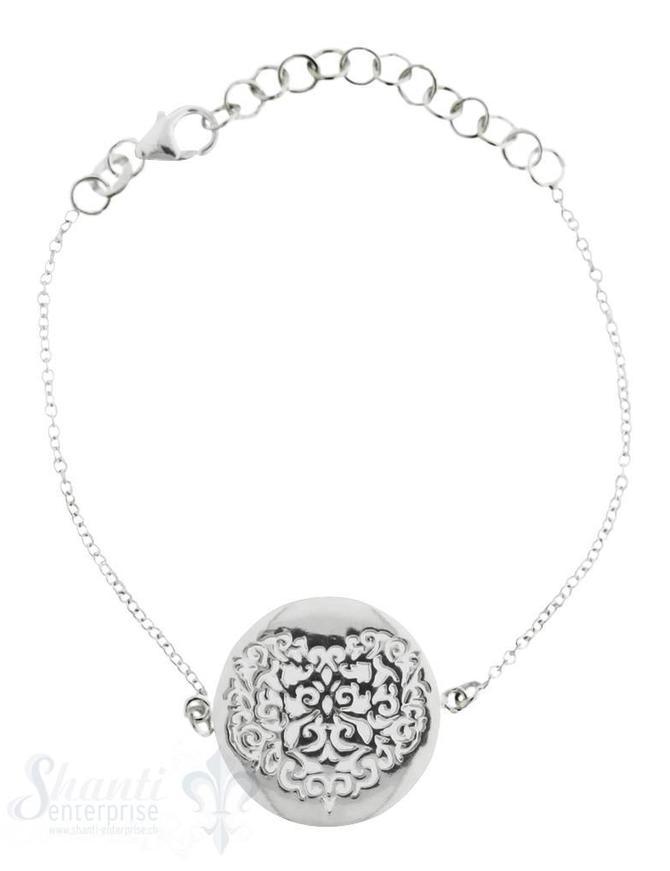 Armkette Silber Anker 15-18,5 cm Amulett Herz durc Grössen verstellbar mit Karabiner