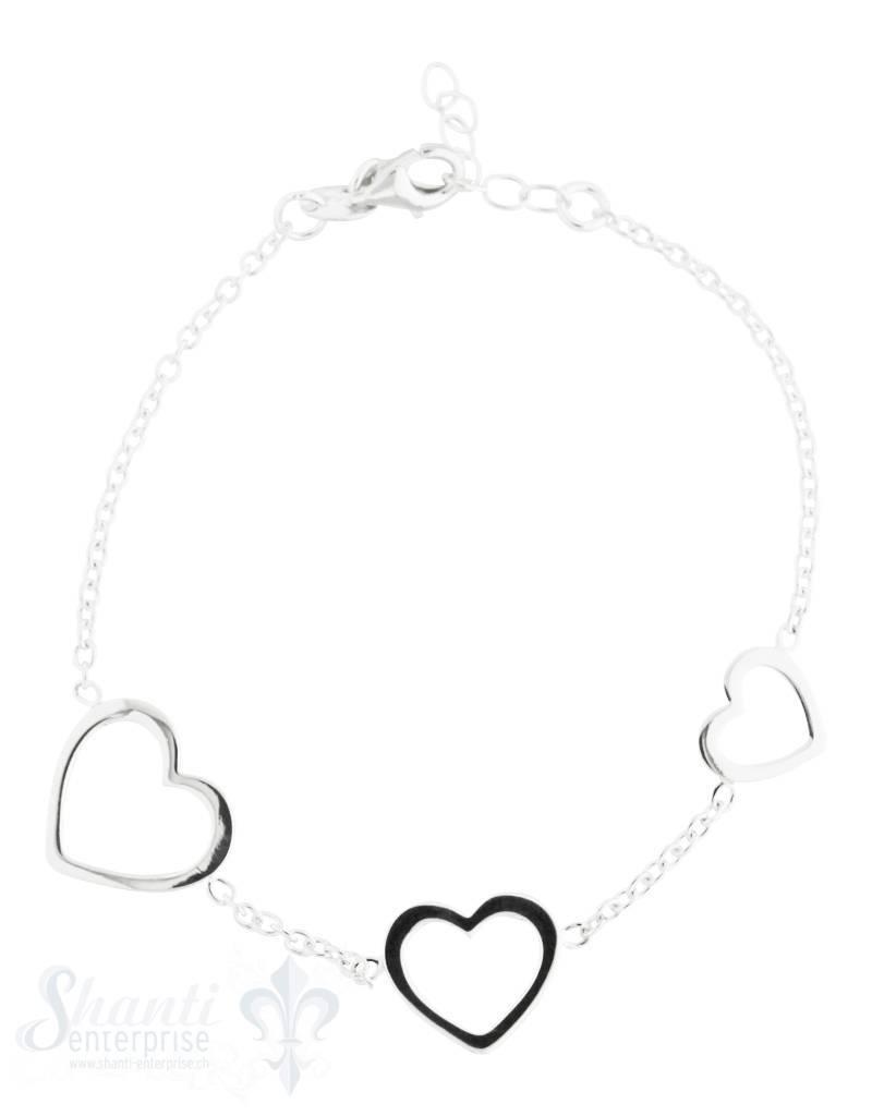 Kinderschmuck Silber Armkette Anker mit 3 div.Herz rahmen verteilt 13/16 cm Grössen verstellbar