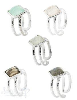 Silberring offene 2-Ringschienen gehämmert mit Stein Grössen verstellbar