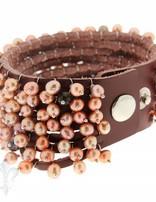 Lederarmband mit Perlen mehrreihig, Kupfer 1 x Handgelenk, Druckknopfverschluss