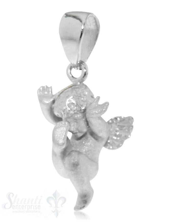 Anhänger Silber Engel sandgestrahlt 10x18 mm