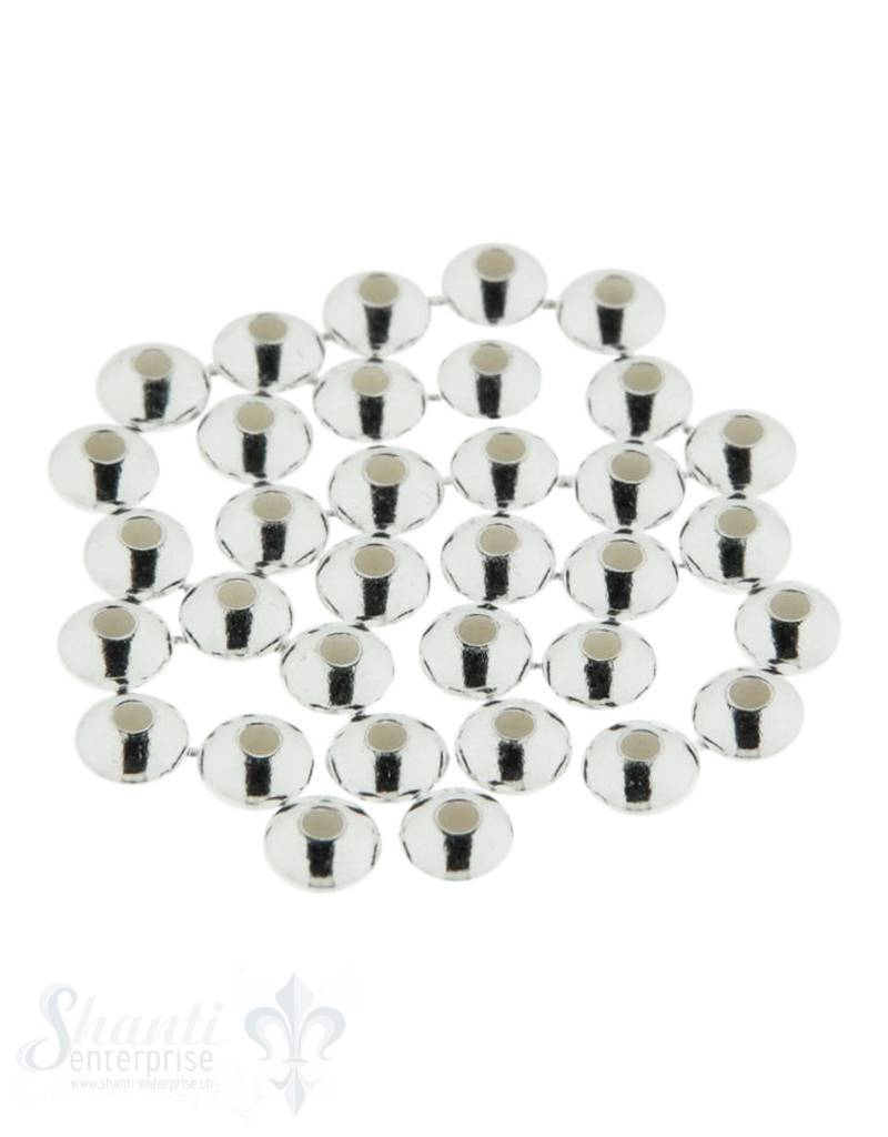 Zwischenteil Silber button, leicht, plaine Linsen