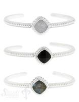 Armspange Silber hell quadratisch 4x60 mm Silber getupft offen0 mm Silber getupft offen