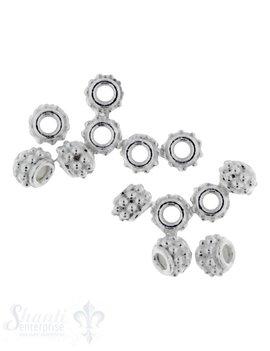Zwischenteil Silber verziert 4,3x3 mm Loch ID 1,7 mm 1 Pack = 20 Stk. ca. 5 gr.