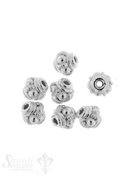 Zwischenteil Silber verziert 6 mm ID 1,5 mm 1 Pack = 9 Stk. ca. 5 gr.
