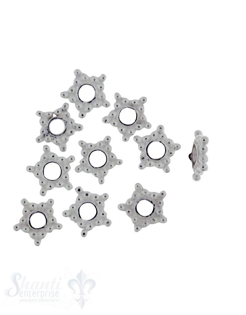Zwischenteil Silber flach Stern 7 mm Loch 1,7 mm 1 Pack = 10 gr.  ca.45 Stk.