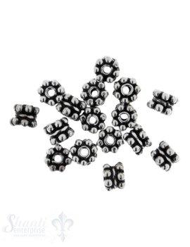 Zwischenteil Silber flach Blume doppelt 5 mm Loch 1,1 mm 1 Pack = ca.10 gr.  ca.23 Stk.