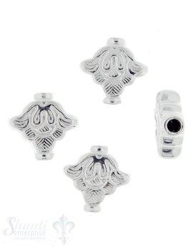 Zwischenteil Silber flach Rhombus fein verziert 13,5 mm ID 2,5 mm 1 Pack = 4 Stk. ca. 6 gr.